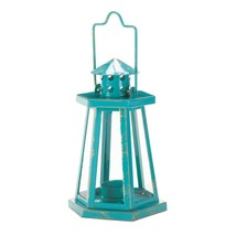 Outdoor Lanterns Decorative, Aqua Lighthouse Hanging Candle Lanterns Out... - $22.49