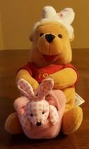 Disney Store Winnie the Pooh Plush Easter Bunny Ears Pink Basket Gingham Rabbit - $9.85