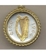 "Irish ½ penny ""Silver & Gold Harp""  coin pendant with chain - $126.00"