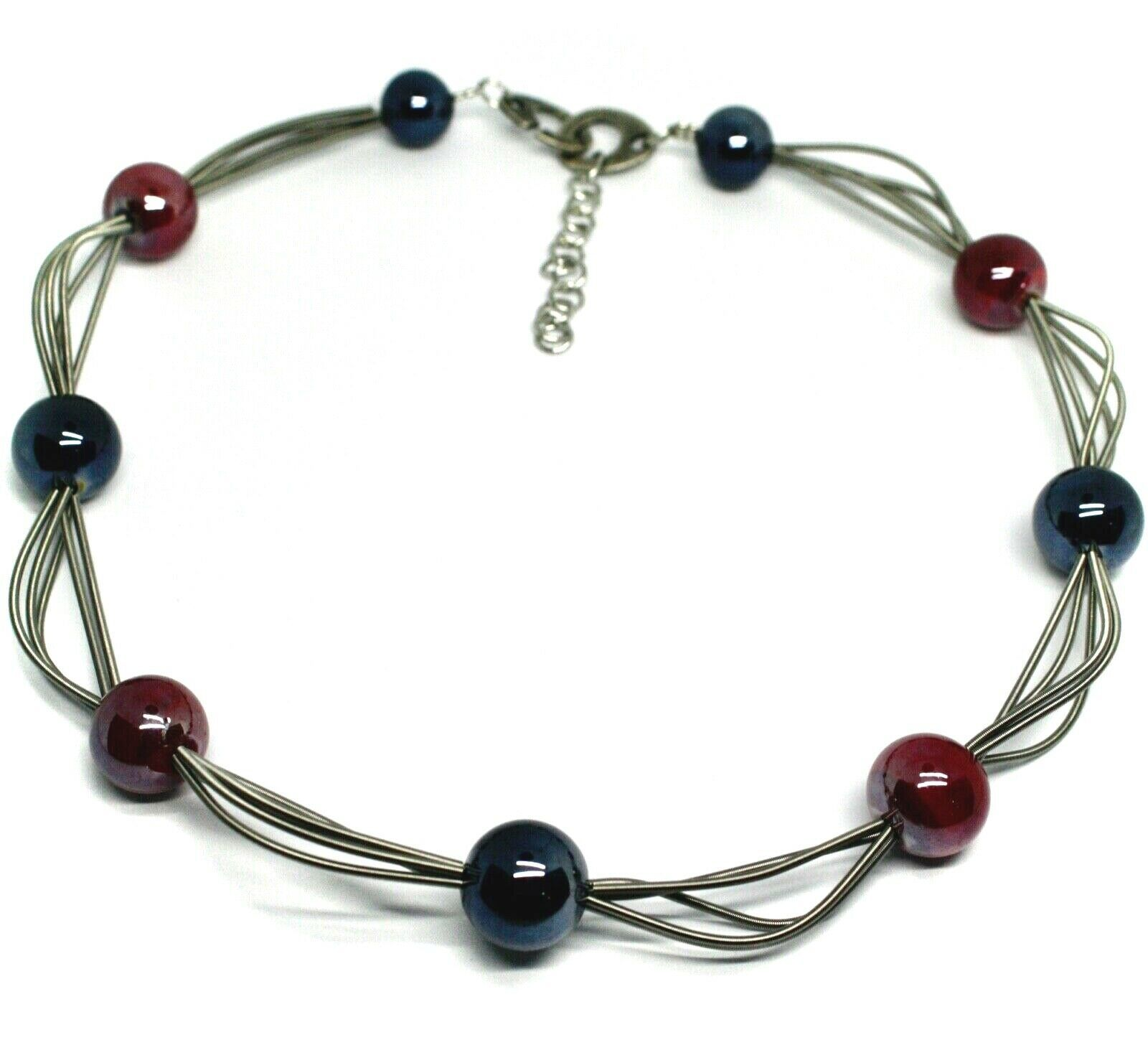 """MULTI WIRES NECKLACE RED BLUE BIG MURANO GLASS SPHERES, 50cm 20"""" ITALY MADE"""