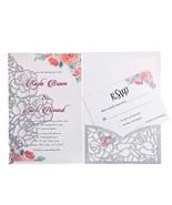 FEIYI 20 PCS 3 Folds Laser Cut Rose Shape Wedding Invitations Cards For ... - $27.96