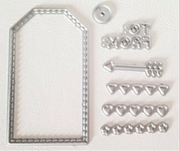 Small Tag Die with Hearts and Arrow Scrapbooking Card Making Gift Tags