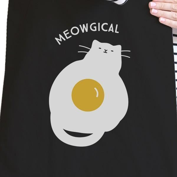 Meowgical Cat And Fried Egg Black Canvas Bags image 2