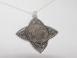 Four T Pendant Lucky sixpence Birthday + 18in Sterling Silver Chain 1953... - $19.77+