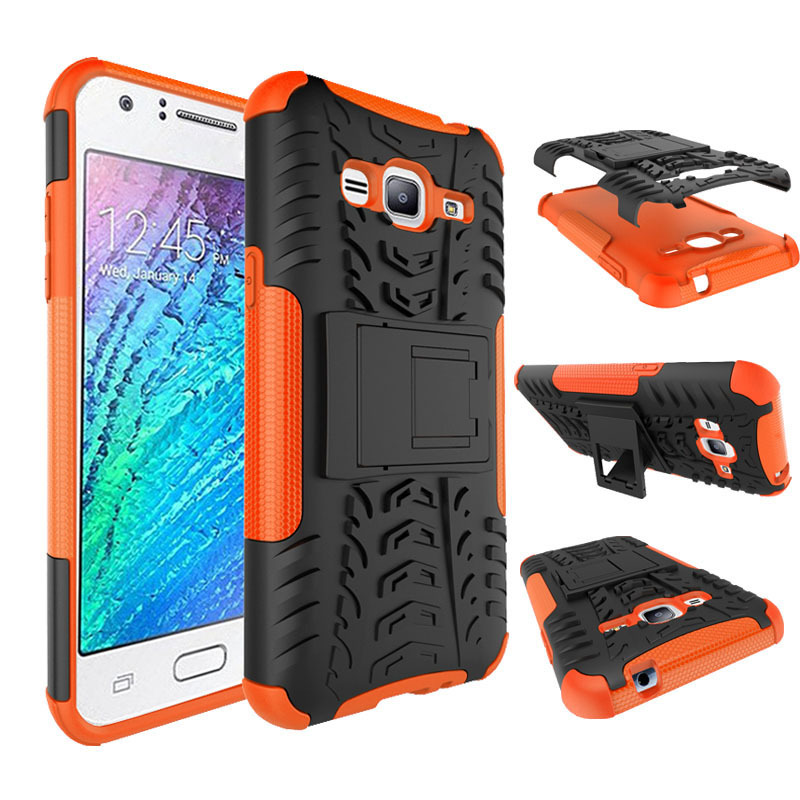Dual Layers Shockproof Case Armor Stand Cover For Samsung Galaxy J3 - Orange