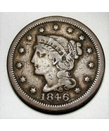 1846 Large Cent Braided Hair FINE+ AD245 - $25.09