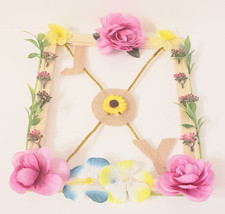 Decorative Frame, For Nursery Wall, Joy and Flowers, Blue and yellow, on... - $25.00