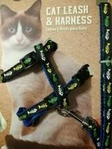 Fish Bone Cat Leash + Harness Set Adjustable Walking Outdoors Kitty Pet ... - $9.95