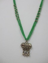 "Green Turquoise 2 Strand Beaded Necklace Vintage Silver Metal Dangle Pendant 16"" - $9.99"