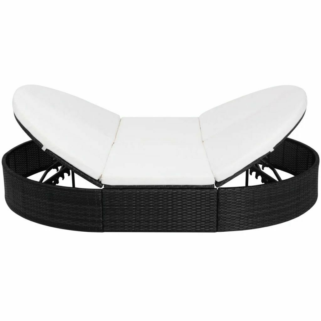 """vidaXL Sunlounger with Cushion Poly Rattan 78.7"""" Lounge Beds Seat Black/Brown image 10"""