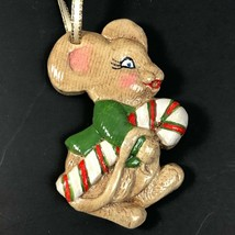 Vintage Mouse Candy Cane Christmas Ornament Mice Hand Painted - $18.74