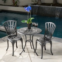 Outdoor Coffee Table with Two Chairs Set Cast Aluminum Modern Bistro Fur... - ₹15,833.29 INR
