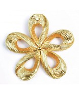 Vintage Etched Gold Tone Flower Brooch Pin 2.5 inch - $13.86
