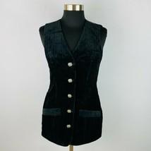 Guess Raised Velvet Stripe Long Button Down Vest S - $29.69