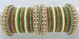 Traditional 38 Pc Red Green Gold Tone Party Wear Bangles Set Jewelry 2J25h - $43.93