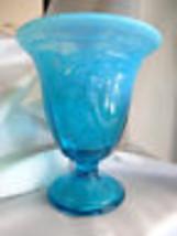 Fenton Art Glass Blue Lagoon Dancing Ladies Comport Vase 8838V8 - $74.00
