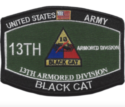 "4.5"" Army Mos 13TH Armored Division Black Cat Embroidered Patch - $17.09"