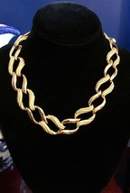 "Vintage NAPIER Gold-Tone 18"" Choker Necklace Textured & Smooth Link EXCE... - $25.23"