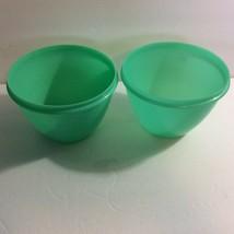 Tupperware Lot 2 Lettuce Keeper Crisper Bowls Only Jadite Green 679 Vtg - $5.34