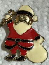 Vintage Enamel Santa Claus Christmas Brooch Pin Gift Collectible - $6.26
