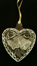 Mikasa Holiday Classics Clear Crystal Heart Frosted Bells Ornament - $14.99