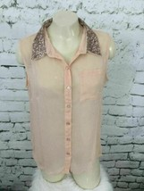 American Rag Womens Sz M Top Pale Peach Sleeveless Button-Up Sequined Co... - $14.84