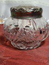 "EAPG Dresser Powder Jar with Metal Lid and Flower Design 4"" x 4"" x 4"" image 6"