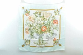 "HERMES Scarf """"REGINA"""" Light Blue 100% Silk Auth 7843 **PIN HOLE - $160.00"