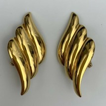 Monet Large Gold Tone Clip On Earrings Vintage Signed Shiny Glossy State... - $19.75