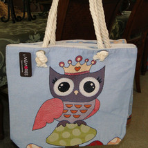 Womens Blue Winter Princess Owl Lg/XL Canvas Tote Rope Handles NWT
