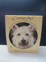 CounterArt Westie - Round Coaster Gift Set With Wood Holder  - $10.99