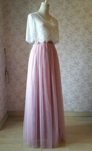 DUSTY PINK High Waist Full Maxi Tulle Skirt Pink Wedding Bridesmaid Tulle Skirts image 3