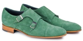 Handmade Men's Green Suede Leather Double Monk Strap Shoes image 1