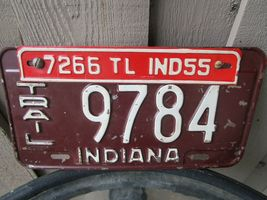 Vintage 1954 Indiana Trailer License Plate w/ 55 Tag 9784 7266 Airstream Shasta image 5