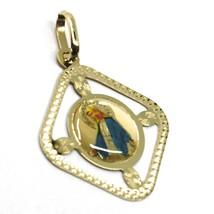 Colgante Medalla, Oro Amarillo 750 18K, Milagrosa, Rombo, Marco, Esmaltado image 2