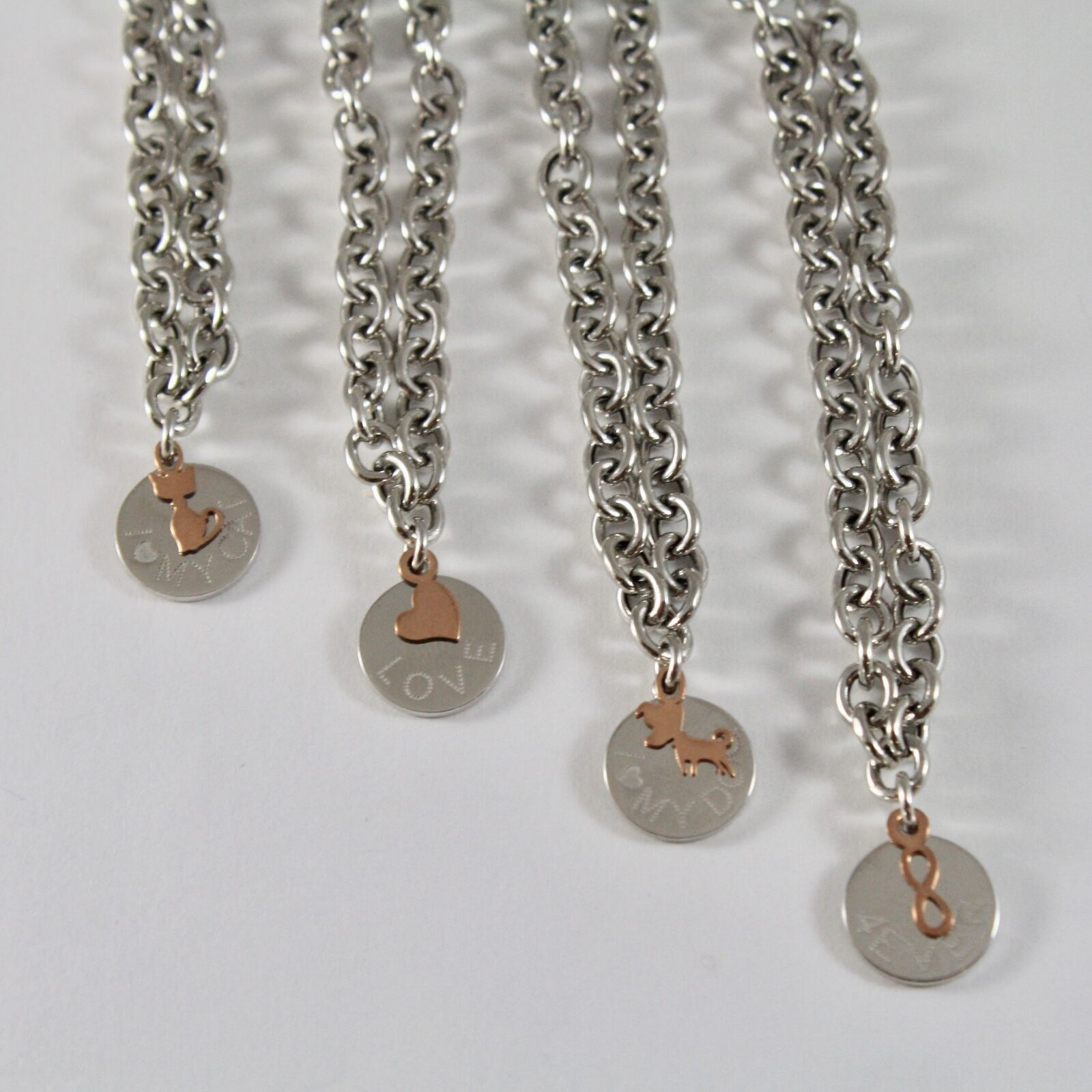 SILVER 925 BRACELET JACK&CO JERSEY INTO RINGS AND PENDANT GOLD PINK 9 CARATS
