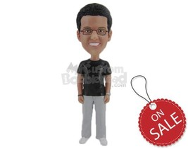 Custom Bobblehead Smart Geeky Man With A Dashing Smile And A Wrist Watch... - $70.00