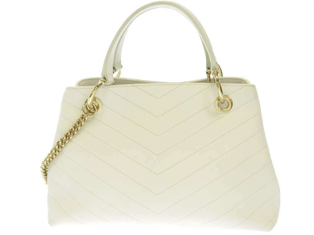 CHANEL Handbag Leather White Chevron V Stitch 2Way Shoulder Bag Italy Authentic image 3