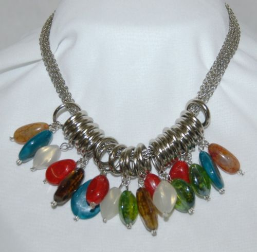 Fashion Jewelry Necklace 16 Inches Multi Colored Stone Silver Loops