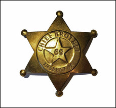 Vintage Badge: Chief Brothel Inspector 69, Brass 6 Point Star Old West S... - $4.95