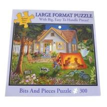 Bits And Pieces Hinterhof Zelten Groß Format 300 Teile Puzzle Komplett - $7.27