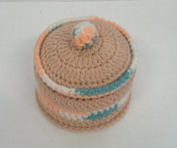vintage handmade knitted round powder box holder - $12.17