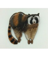 Unique Hand Made Painted Raccoon Metal Brooch Pin Costume Jewelry  - $19.79