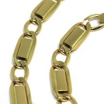 Bracelet or Jaune 18K 750, Jersey Plate Rectangulaire Et Ovale Alterné 4 MM image 2