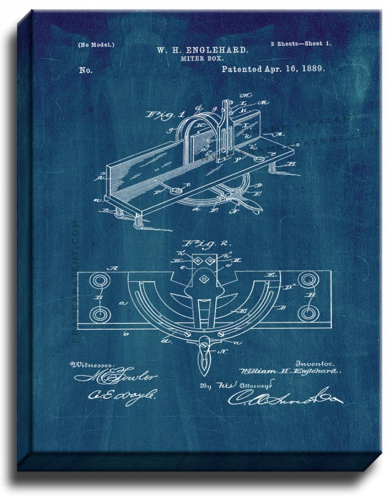 Primary image for Miter Box Patent Print Midnight Blue on Canvas