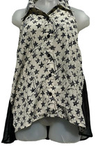 YA Los Angeles Sz Medium Button Up Tank Top Black White Stars Silk Blend... - $16.19