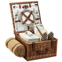 Picnic at Ascot Cheshire English-Style Willow Picnic Basket with Service... - $153.27