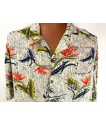 Hawaiian Aloha Shirt 3XL Bird of Paradise Leaves Blue Beige Green  - $39.59