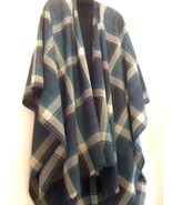 BLUE PLAID WOOL PONCHO STYE  WRAP - $27.99