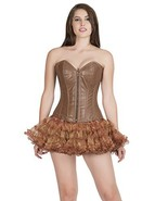 Brown Leather Zip Sexy Goth Burlesque Overbust Corset Waist Training Bus... - $69.99